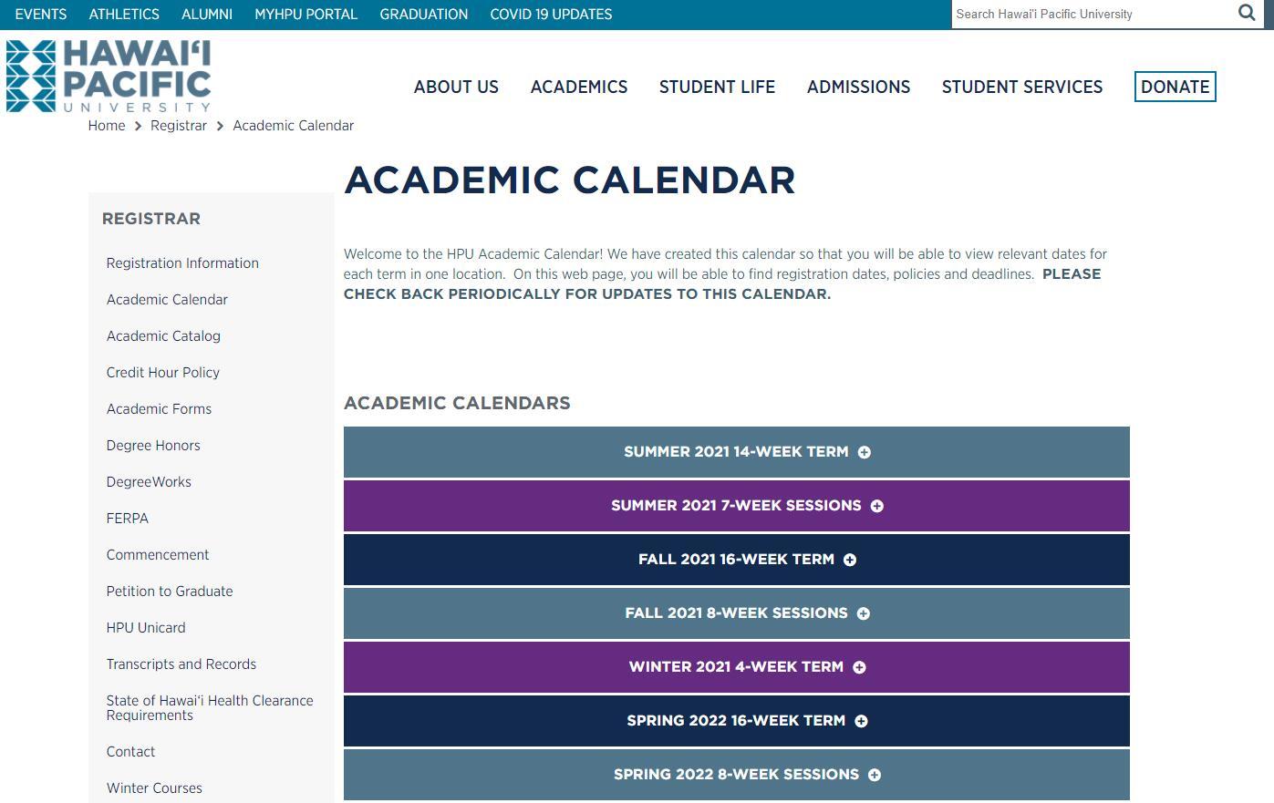 Academic Calendar - Hawaii Pacific University