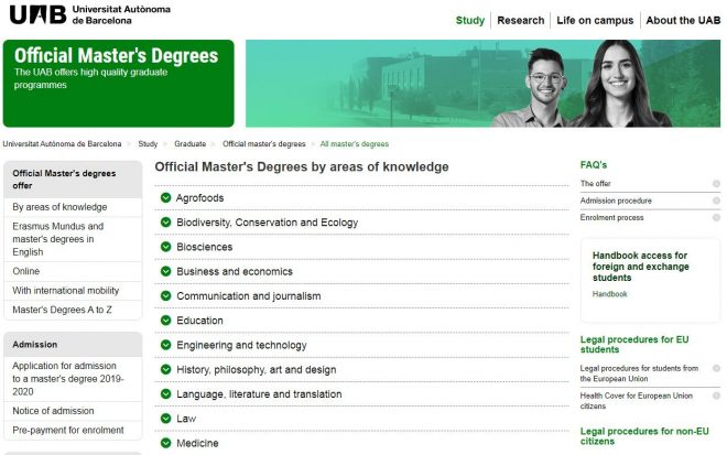 Official Master's Degrees by areas of knowledge - UAB